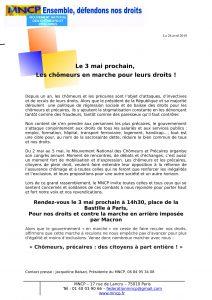 Communiqué - Chômeurs en marche pour leurs droits
