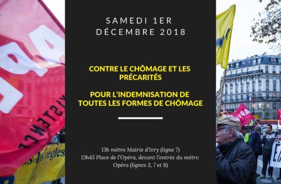 Samedi 1er décembre : contre le chômage et les précarités