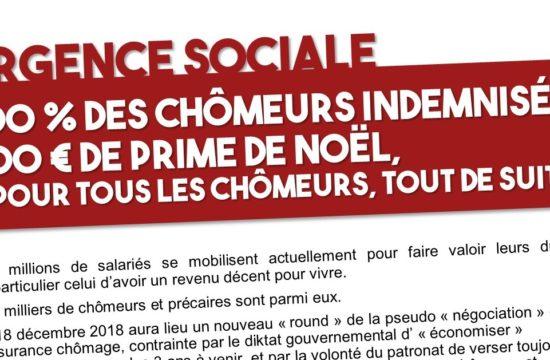 Urgence sociale : 100 % des chômeurs indemnisés + 500€ de prime de Noël !