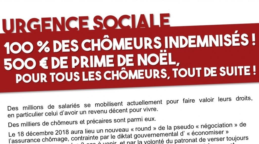 Prime De Noel Pour Les Chomeurs Urgence sociale : 100 % des chômeurs indemnisés + 500€ de prime de