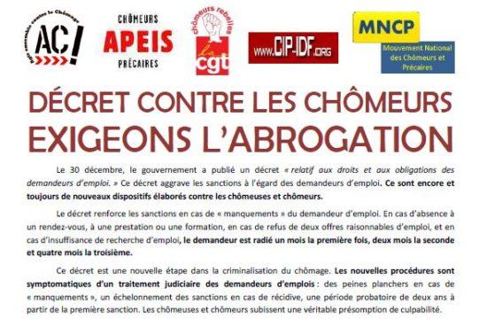 Décret contre les chômeurs exigeons l'abrogation : Rendez-vous le 22 février !