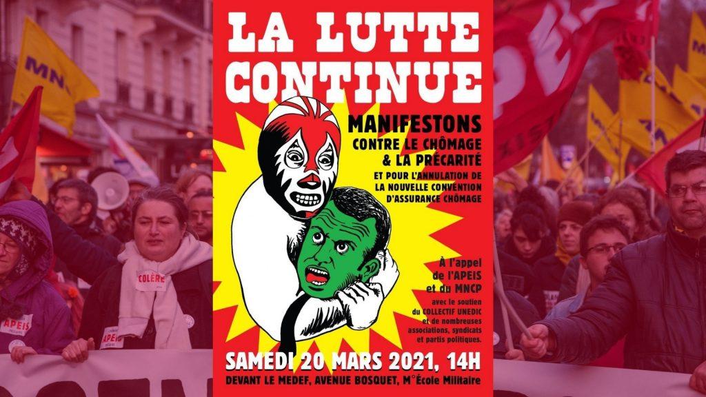 Samedi 20 mars : mobilisation contre le chômage, la précarité et pour l'annulation de la réforme de l'assurance chômage
